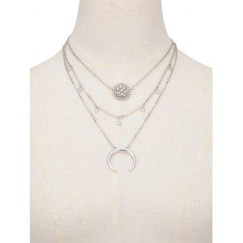Multilayered Alloy Blossom Beads Circle Necklace - SILVER