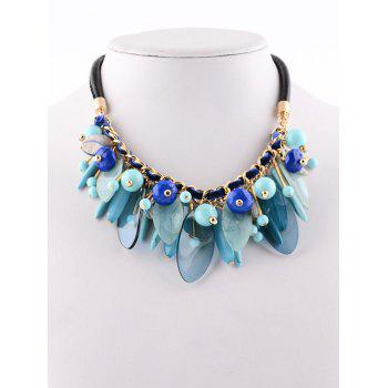 Faux Leather Rammel Chains Beaded Necklace - BLUE