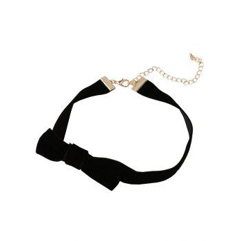 Bowknot Velvet Strip Embellished Choker Necklace - BLACK