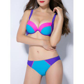 Push Up Contraste Couleur Splicing Bikini - Pers S