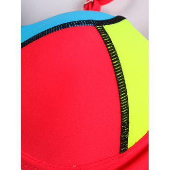 Cami Push Up Contrast Color Spliced Bikini Set - RED L