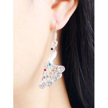 Rhinestone Peacock Drop Wedding Jewelry Earrings - WHITE