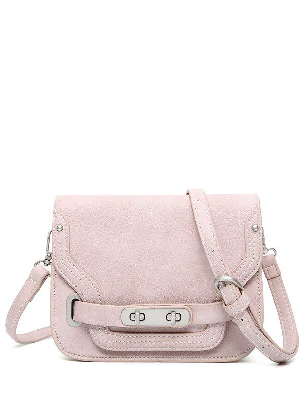 Double Hasp PU Leather Crossbody Bag - PINK