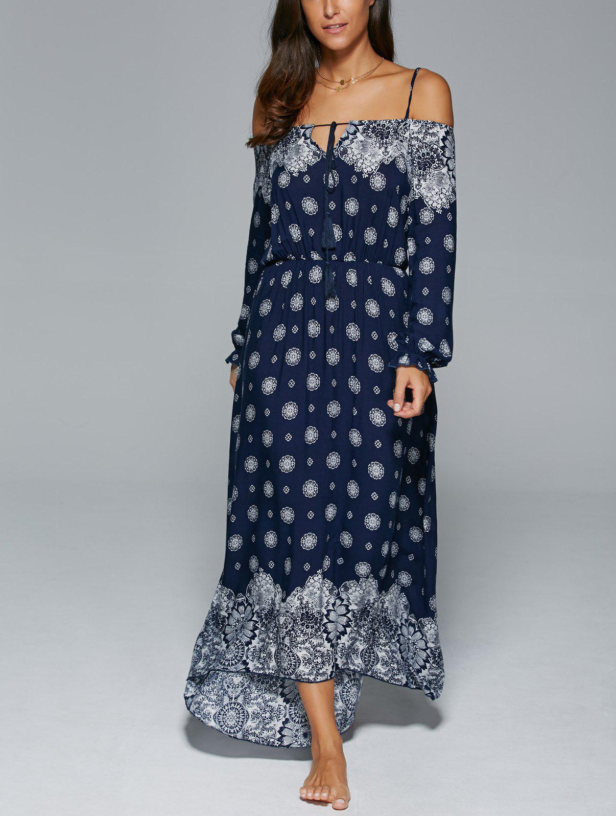Bohemian Spaghetti Strap Tribal Print Maxi Dress - PURPLISH BLUE XL