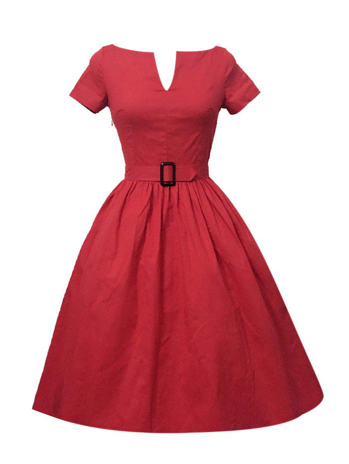 Plus Size Pleated A Line Vintage Cotton Dress - RED S