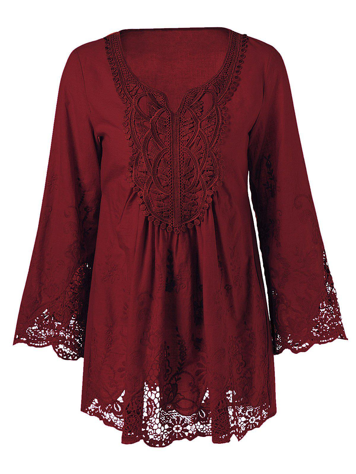 Plus Size Lace Patchwork Peasant Blouse - WINE RED 4XL