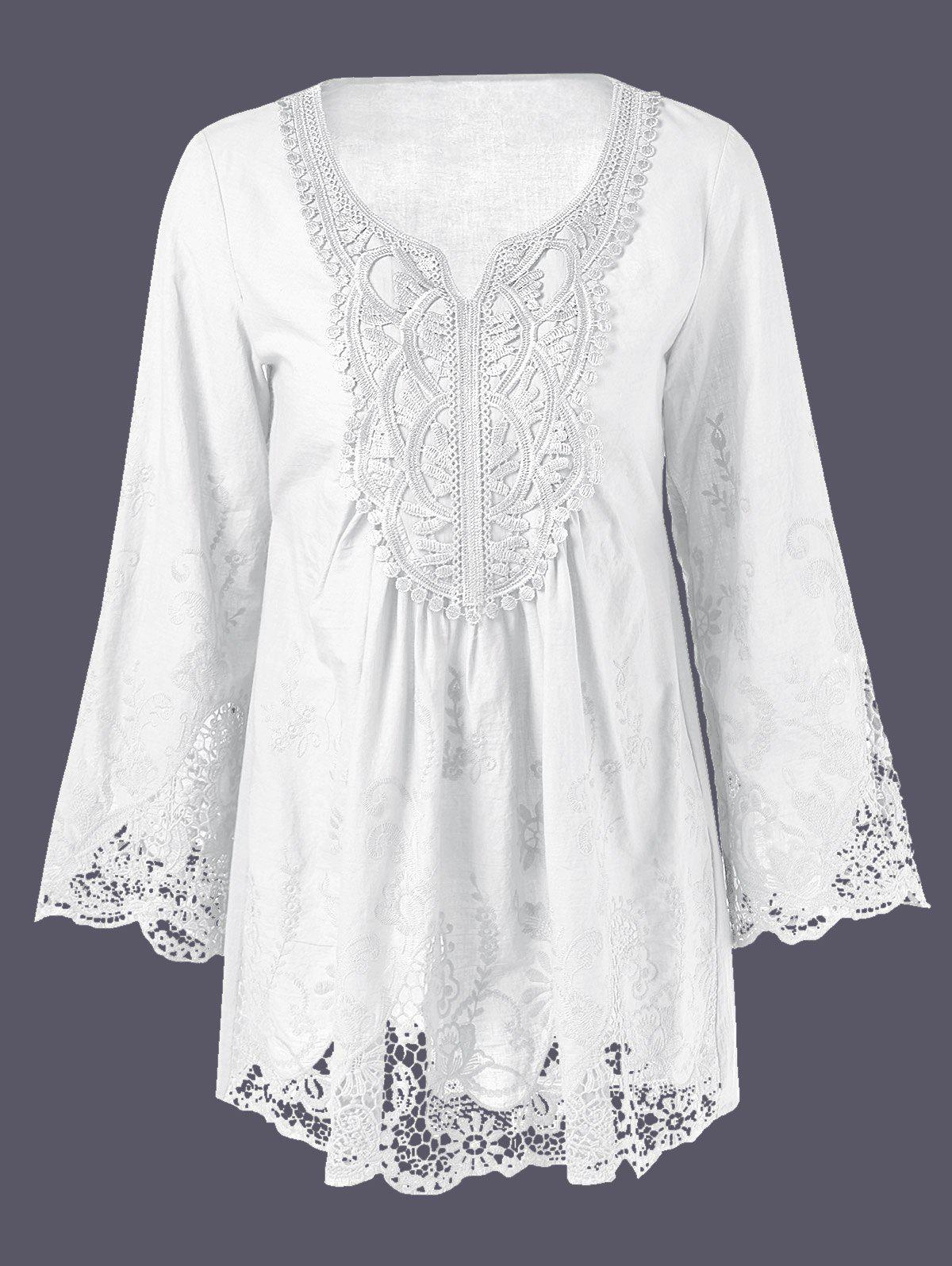 Lace Patchwork Peasant Top - WHITE 5XL