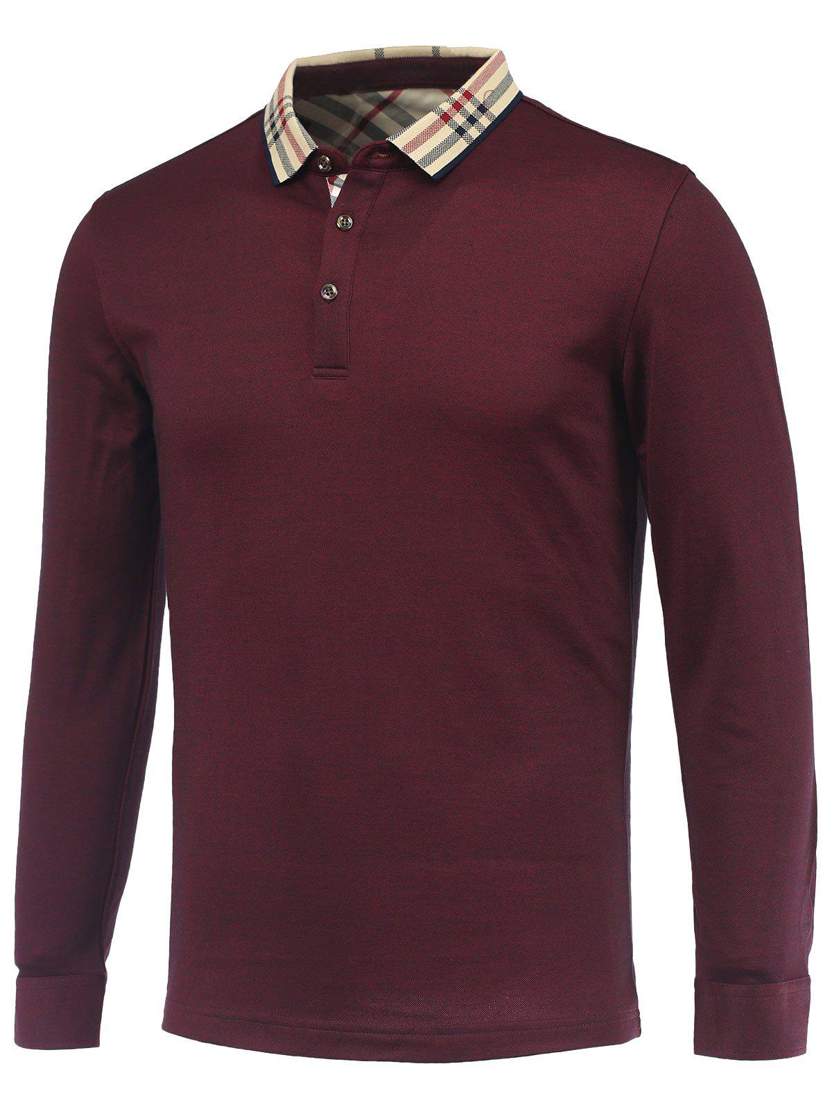 Buy Tartan Splicing Turn-Down Collar Long Sleeve Polo T-Shirt RED