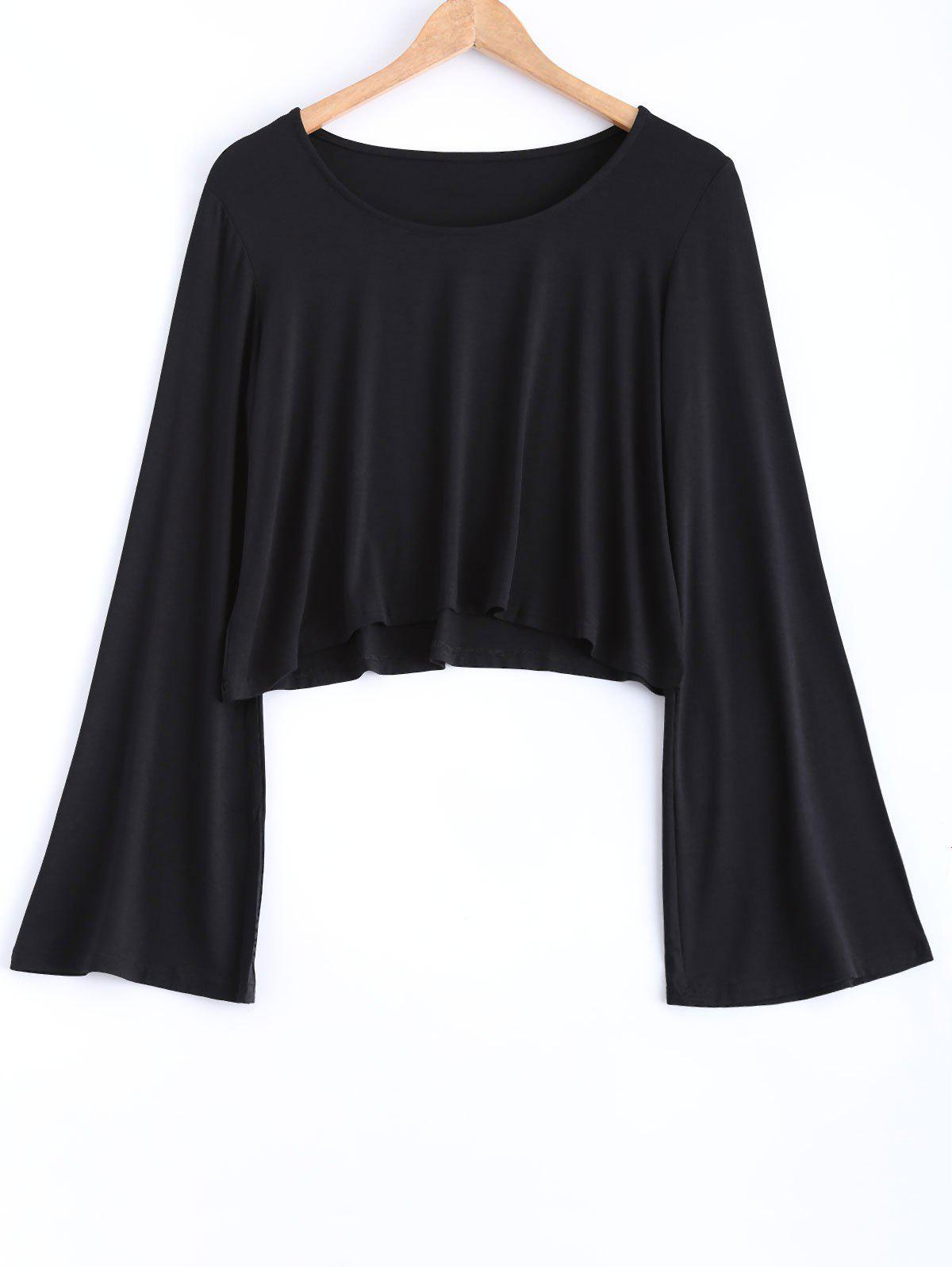 Manches Flare Casual Loose-Fit Crop Top - Noir M