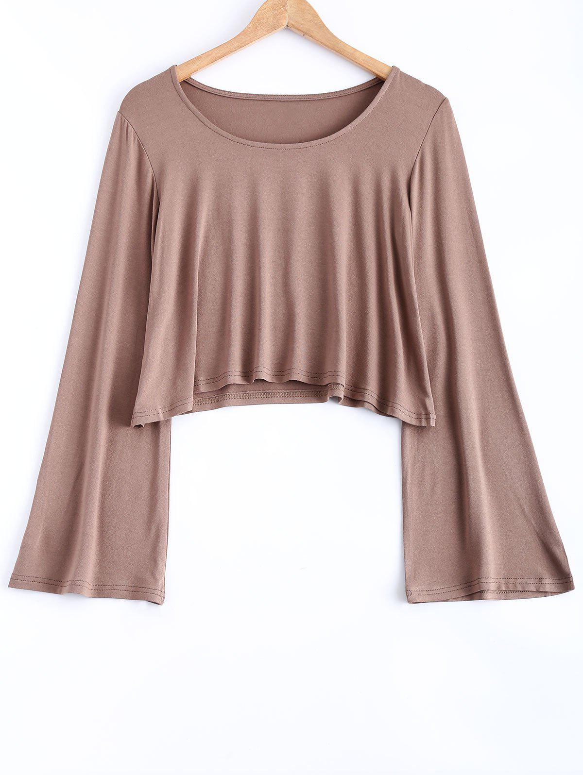 Manches Flare Casual Loose-Fit Crop Top - Camel M