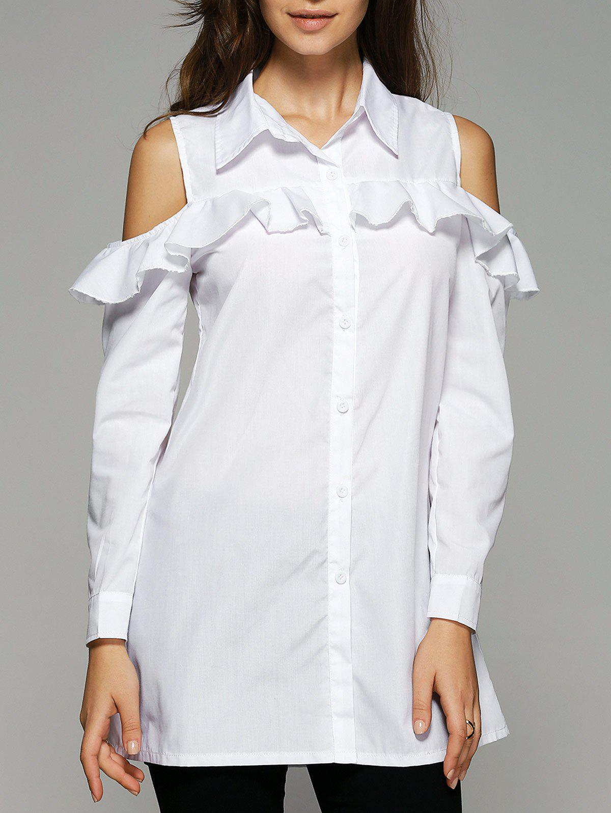Ruffles Long Sleeve Cold Shoulder Shirt - WHITE S