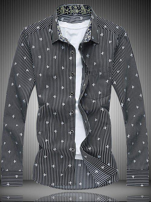 Long Sleeve All-Over Striped and Flower Pattern Shirt шина michelin energy saver tl 215 60 r16 95h