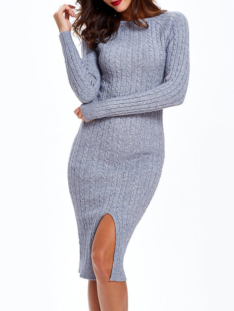 2018 Cable Knit Long Sleeve Bodycon Sweater Dress Gray One Size In