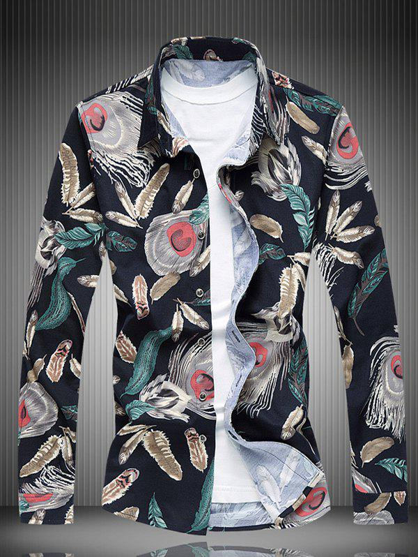 Collier All-Over Feather Printed shirt Turn-Down - multicolore 4XL