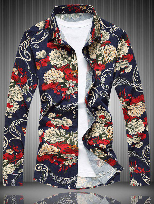 Collier All-Over imprimé floral shirt Turn-Down - multicolorcolore M