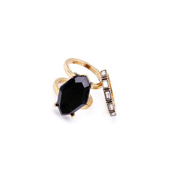 Polygon Faux Gemstone Rings - BLACK ONE-SIZE