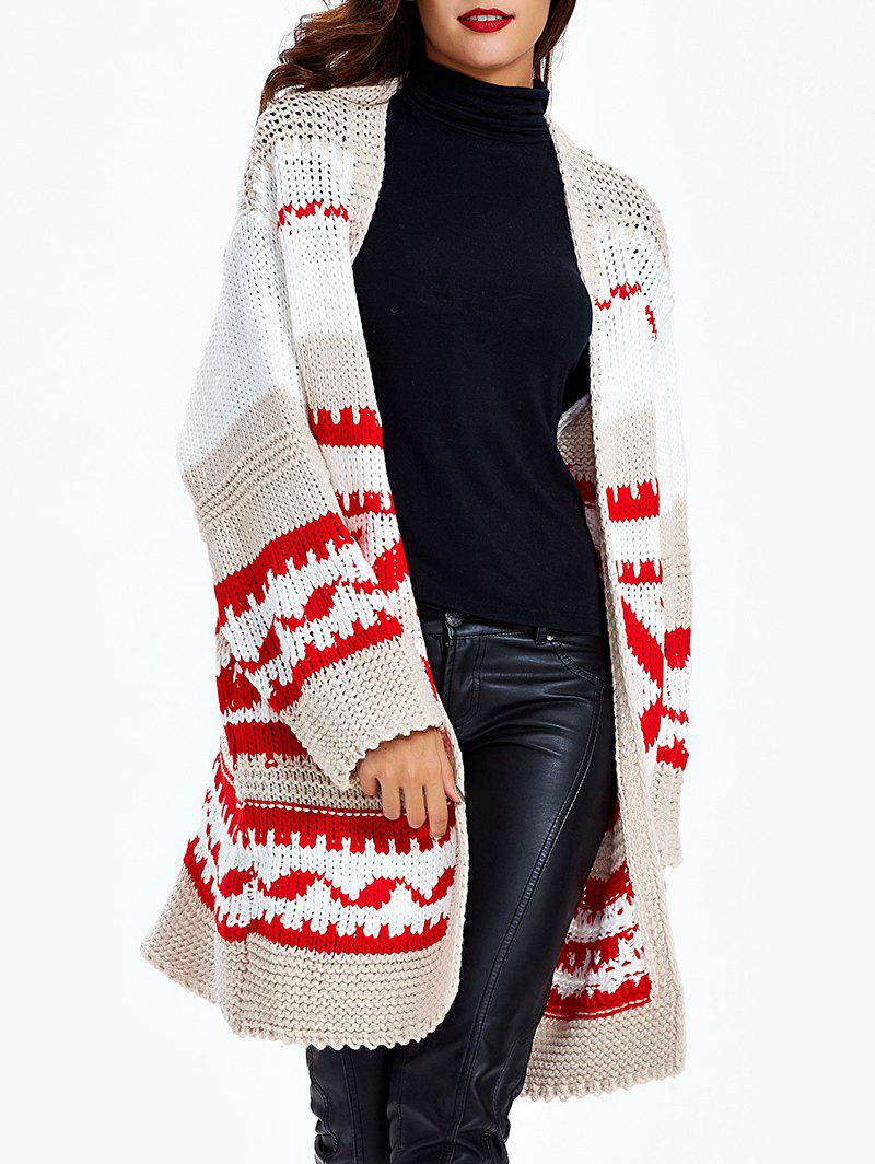 Loose-Fitting Tribal Jacquard Cardigan - Rouge ONE SIZE