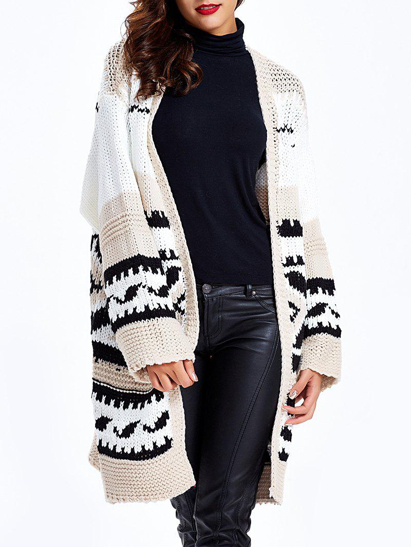 Loose-Fitting Tribal Jacquard Cardigan - Noir et Gris ONE SIZE