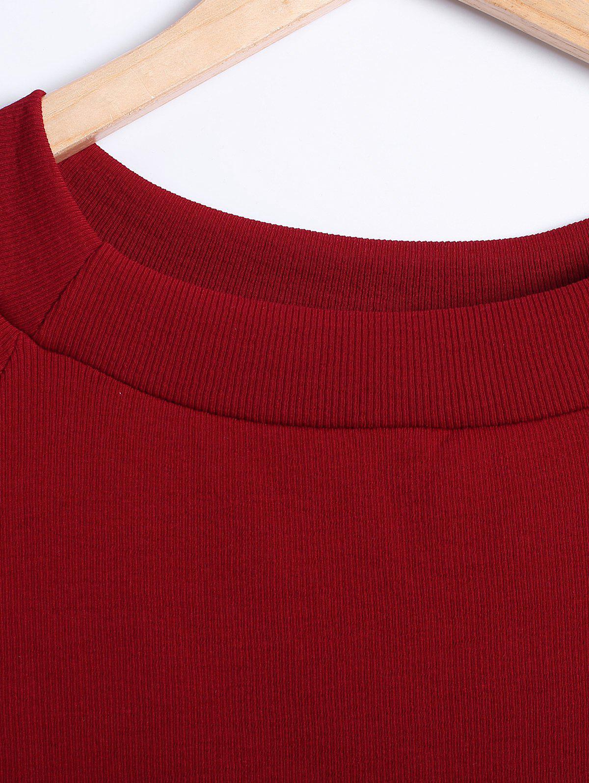 Organza Splicing de Bell manches courtes T-shirt - Rouge vineux ONE SIZE(FIT SIZE XS TO M)