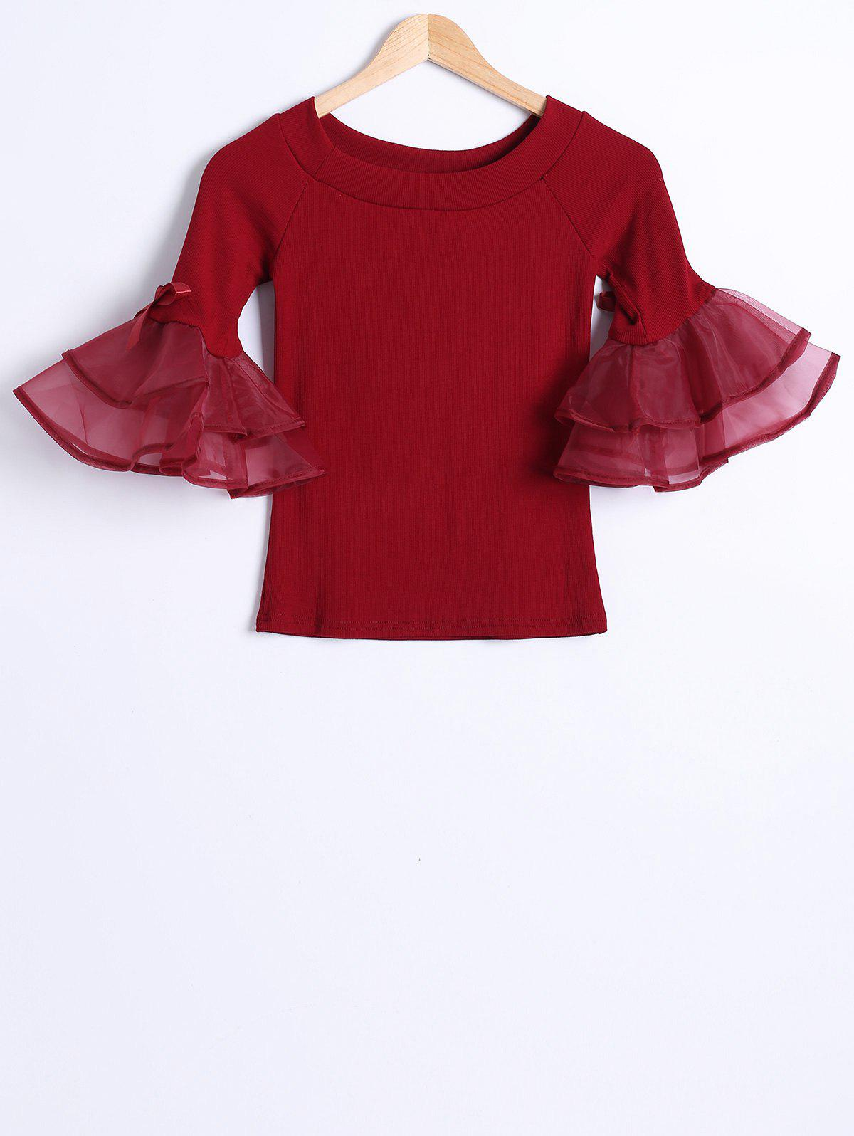 Organza Splicing Bell Sleeve Short T-ShirtWomen<br><br><br>Size: ONE SIZE(FIT SIZE XS TO M)<br>Color: WINE RED