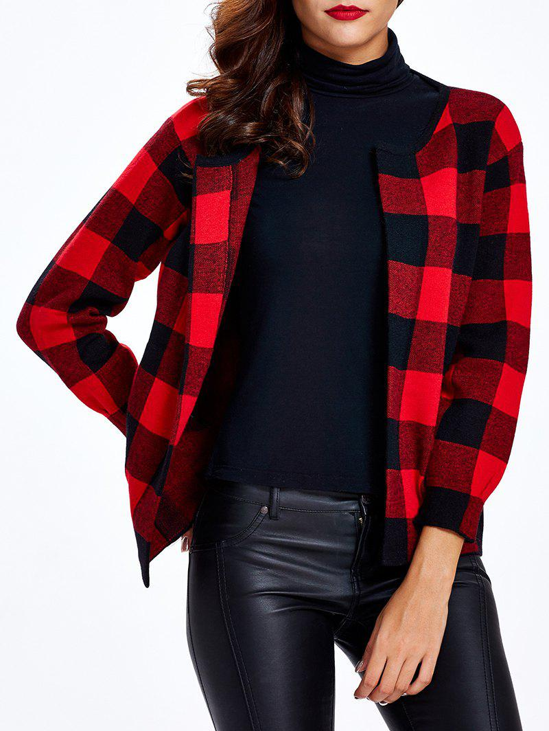 Plaid 3/4 manches courtes Cardigan - Rouge ONE SIZE