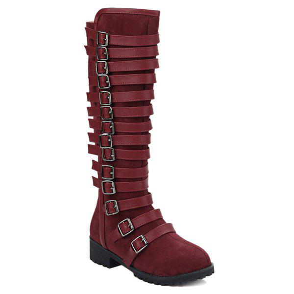 Suede Multi Buckles Mid-Calf Boots - WINE RED 37