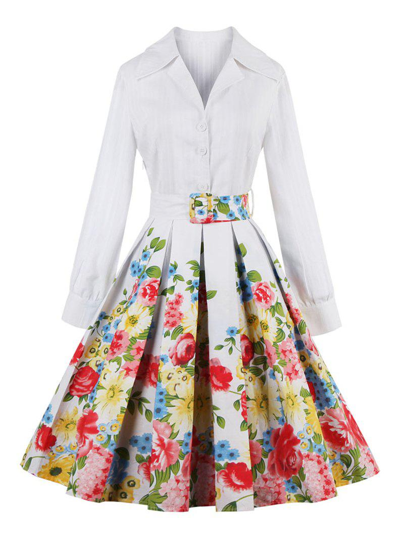 Floral Long Sleeve Pleated A Line Dress - WHITE 2XL