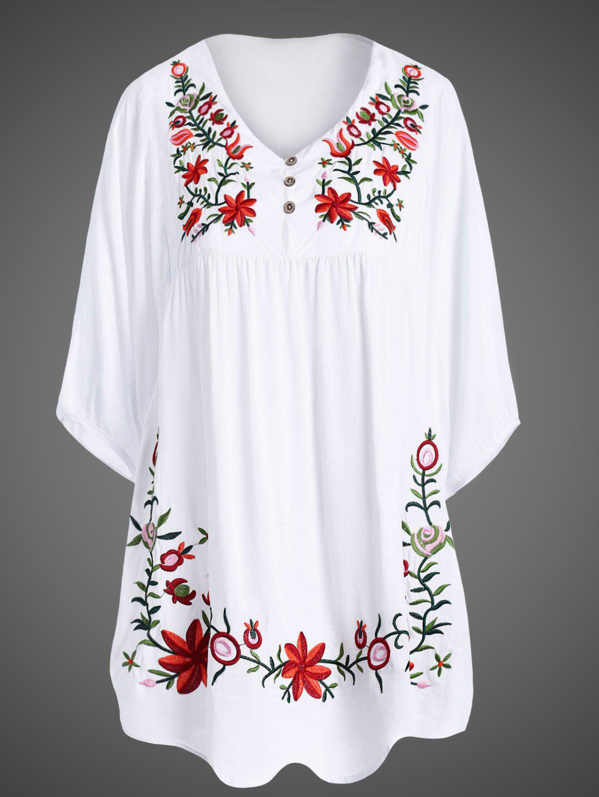 Plus Size Embroidered Dress - WHITE 2XL