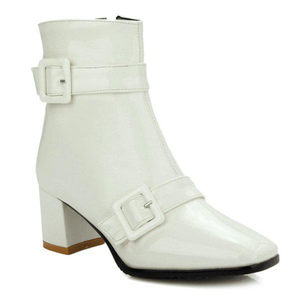 Square Toe Buckles Patent Leather Short Boots - WHITE 39