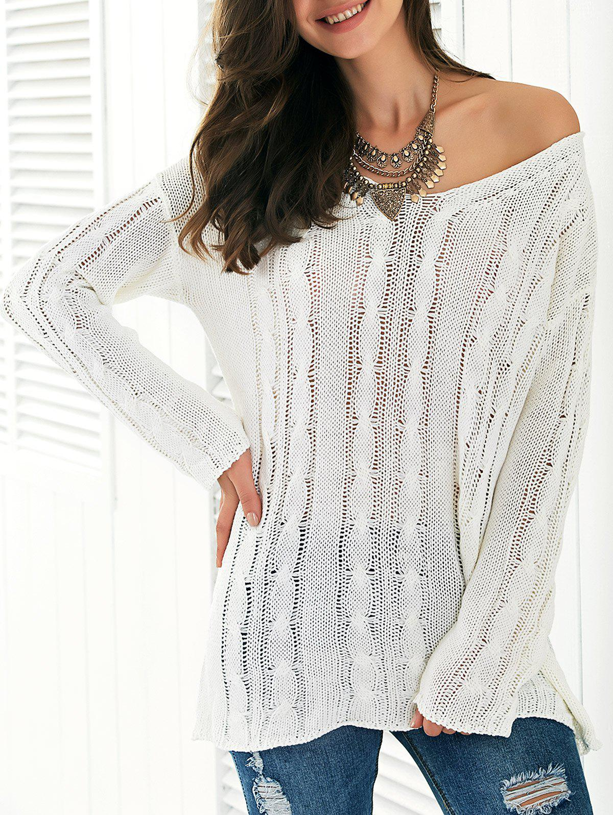 Long Sleeve Hollow Out Knitted Blouse - WHITE ONE SIZE
