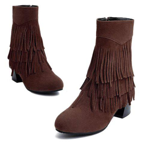 Stylish Layer Fringe and Chunky Heel Design Women's Boots - CAMEL 37