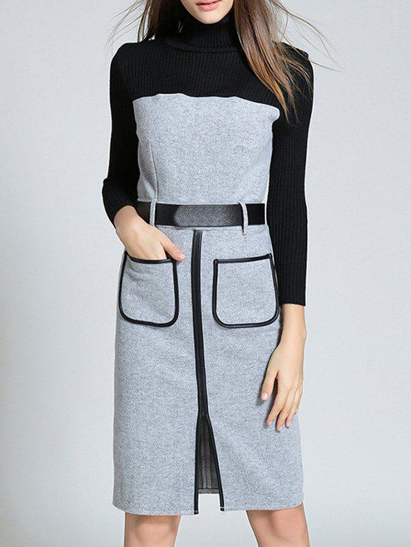 цены Turtleneck Knitted Work Dress