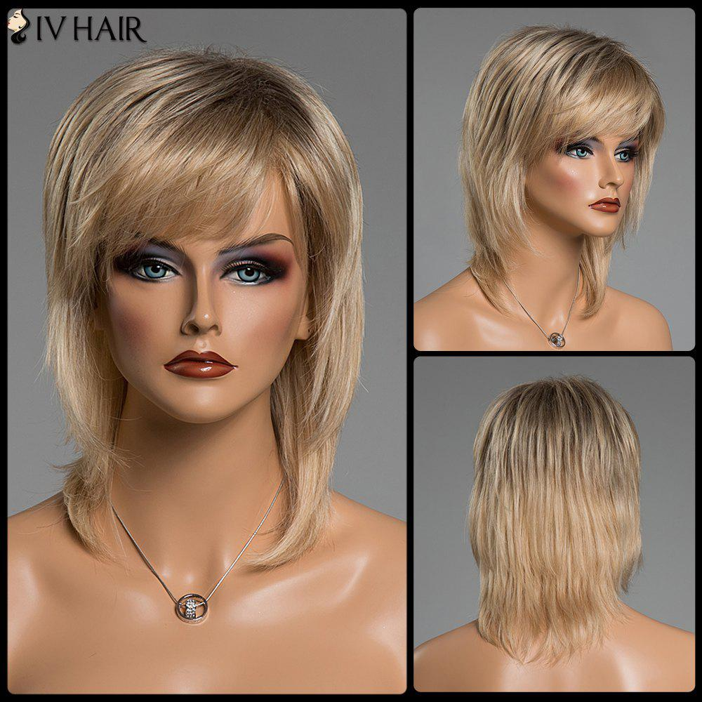 Straight Medium Layered Human Hair Mixed Color Side Bang Capless Siv Hair Wig