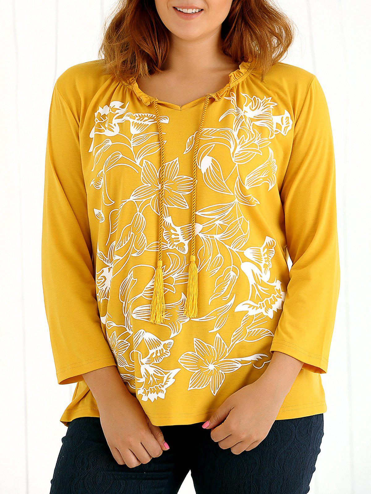 Long Sleeves Tassel Floral Print T-Shirt - YELLOW 4XL