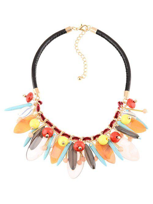 Faux Leather Rammel Chains Beaded Necklace - COLORMIX