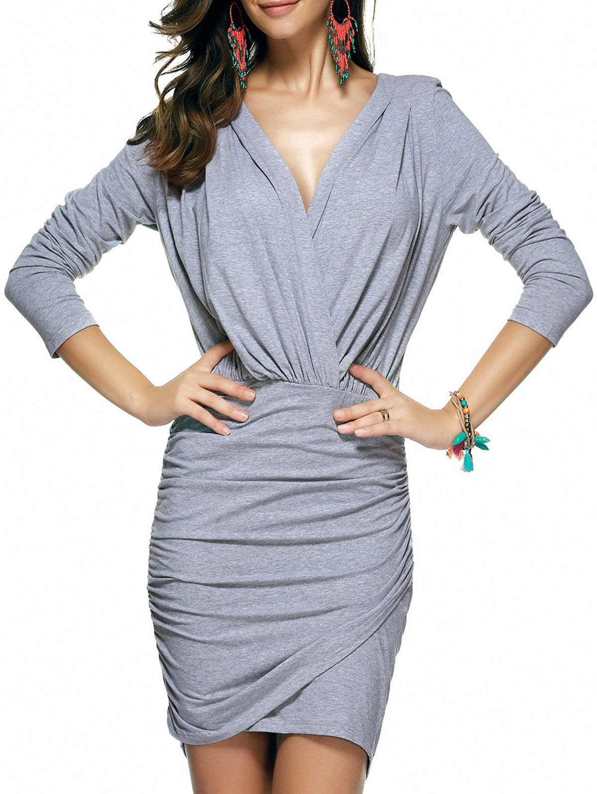 Low Cut Ruched Dress