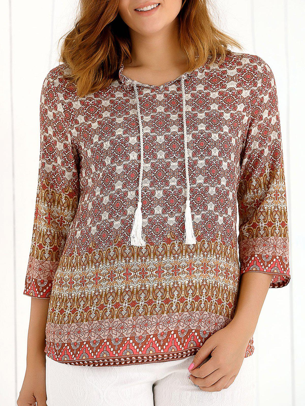 Tassel imprimé tribal manches 3/4 Blouse - multicolorcolore XL