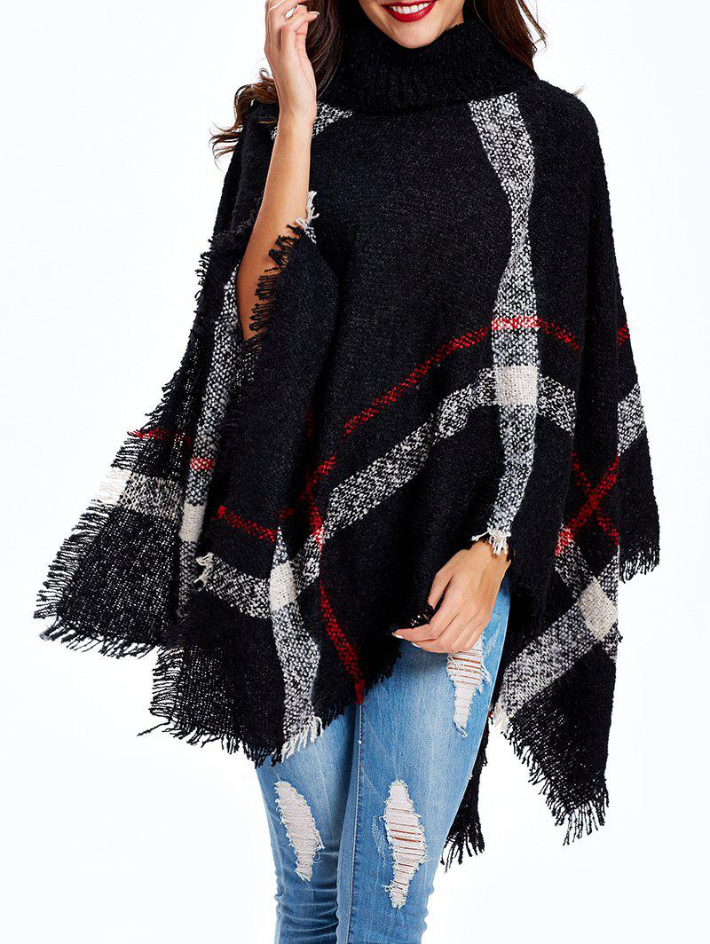 Plaid Fringed Knitted Turtle Neck Cape