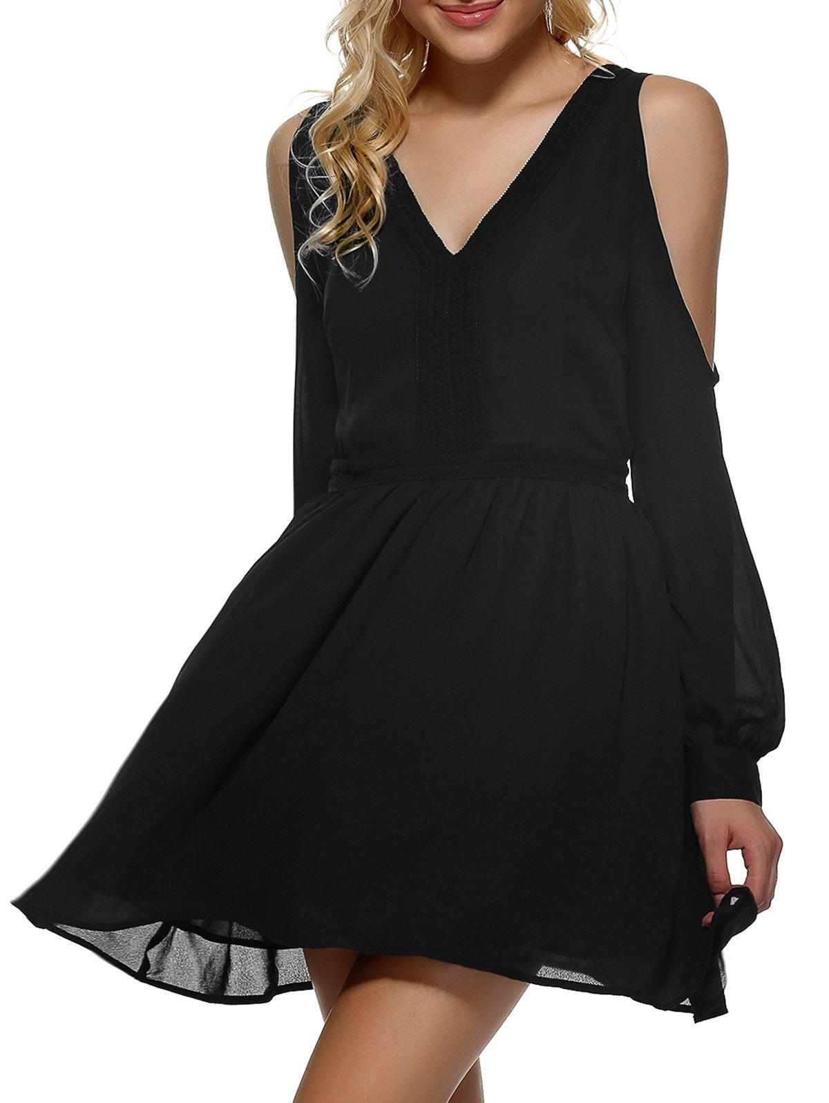 V Neck Cut Out Chiffon Dress - BLACK XL