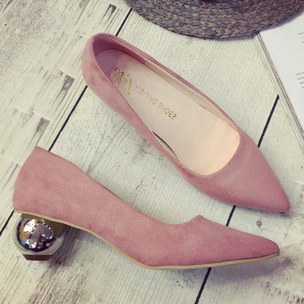 Metal Pointed Toe Strange Style Pumps - PINK 37