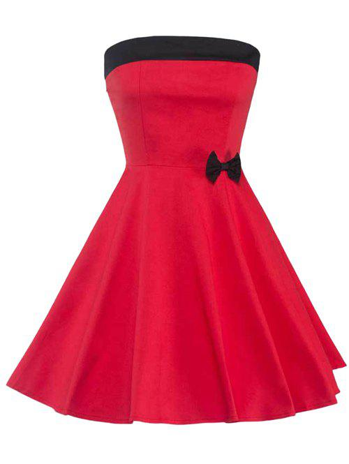 Strapless Lace-Up Bowknot Embellished Dress - RED 2XL