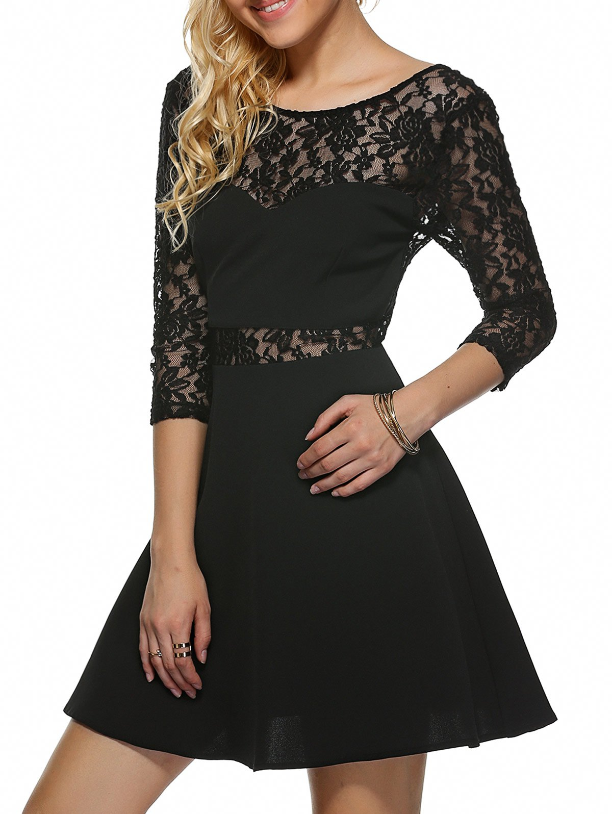 Open Back Lace Dress - BLACK XL