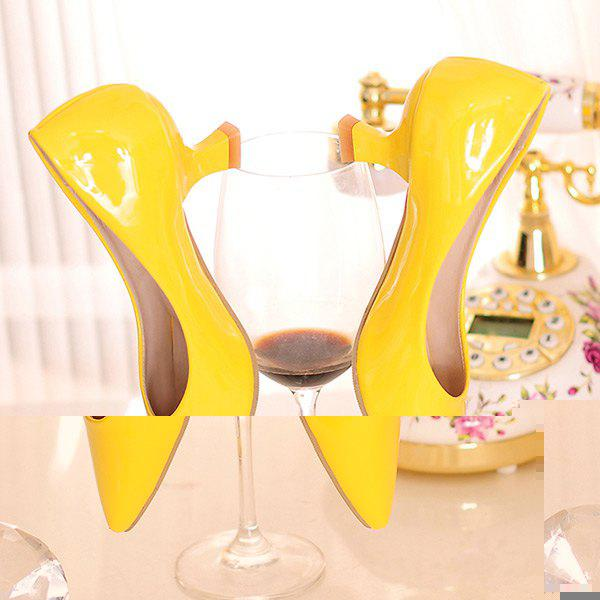 Strange Heel Point Toe Pumps - YELLOW 40