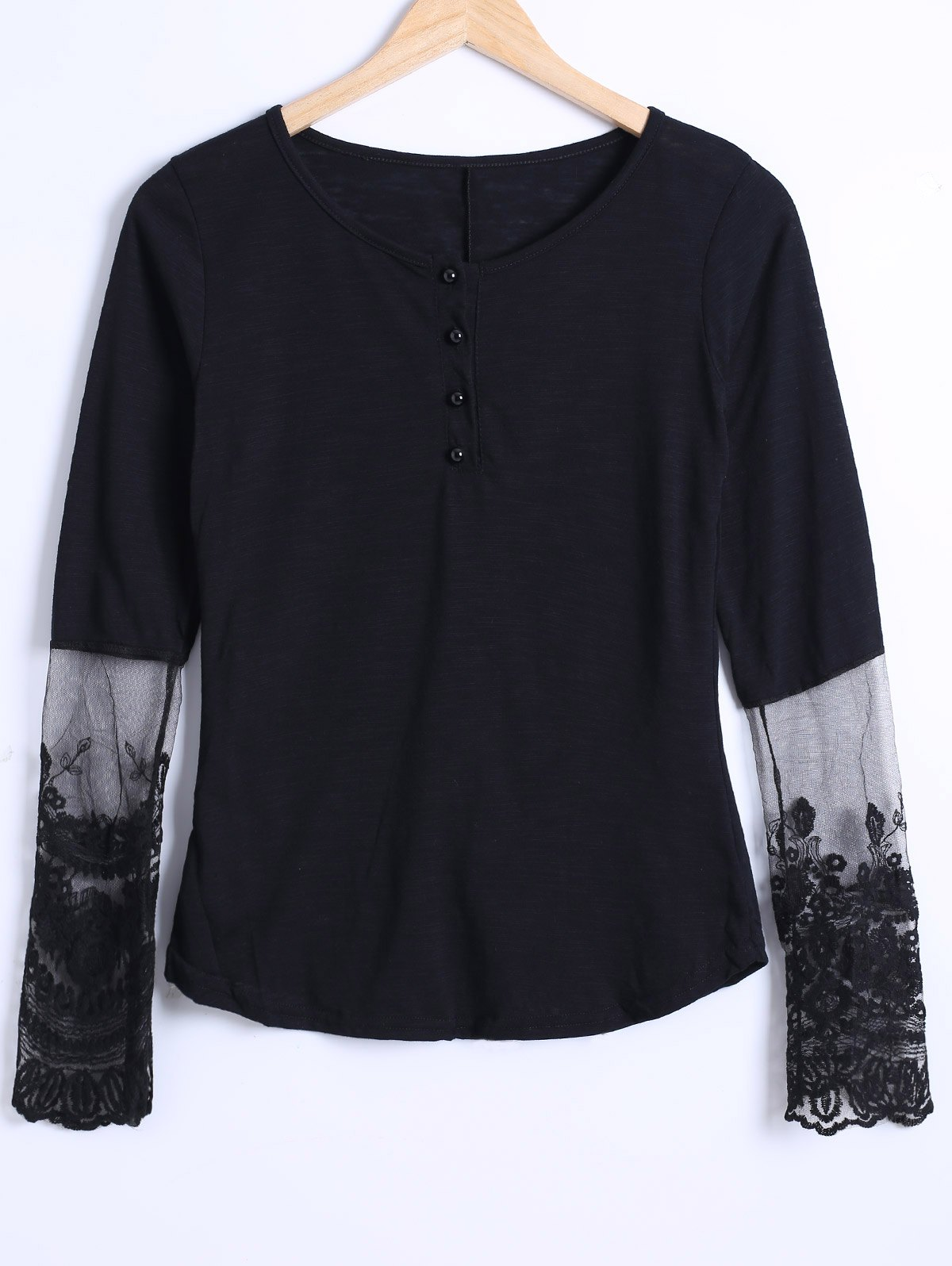 See Through Lace Trim Blouse - BLACK 4XL