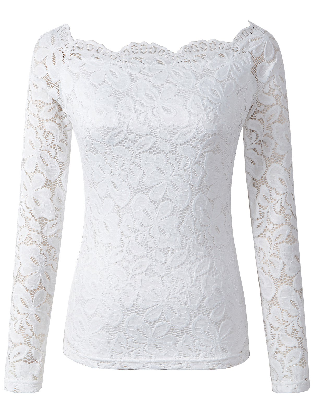 Hollow Out Skinny Slimming Lace T-Shirt - WHITE L