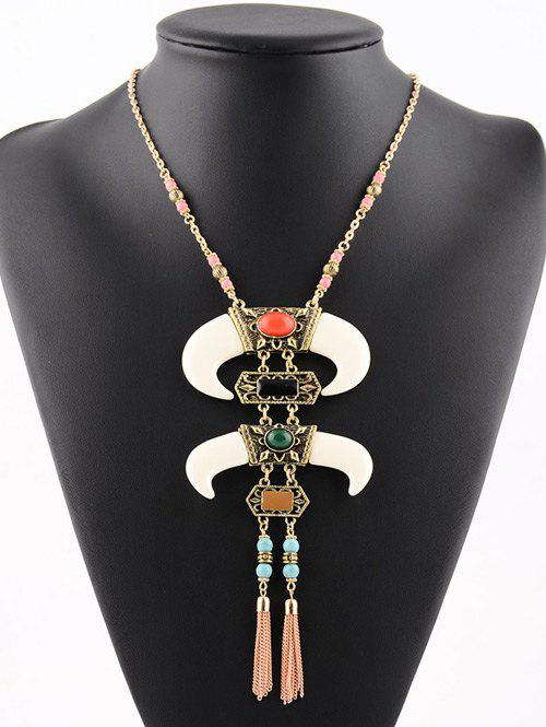 Faux Turquoise Geometric Chains Beaded Necklace, Golden
