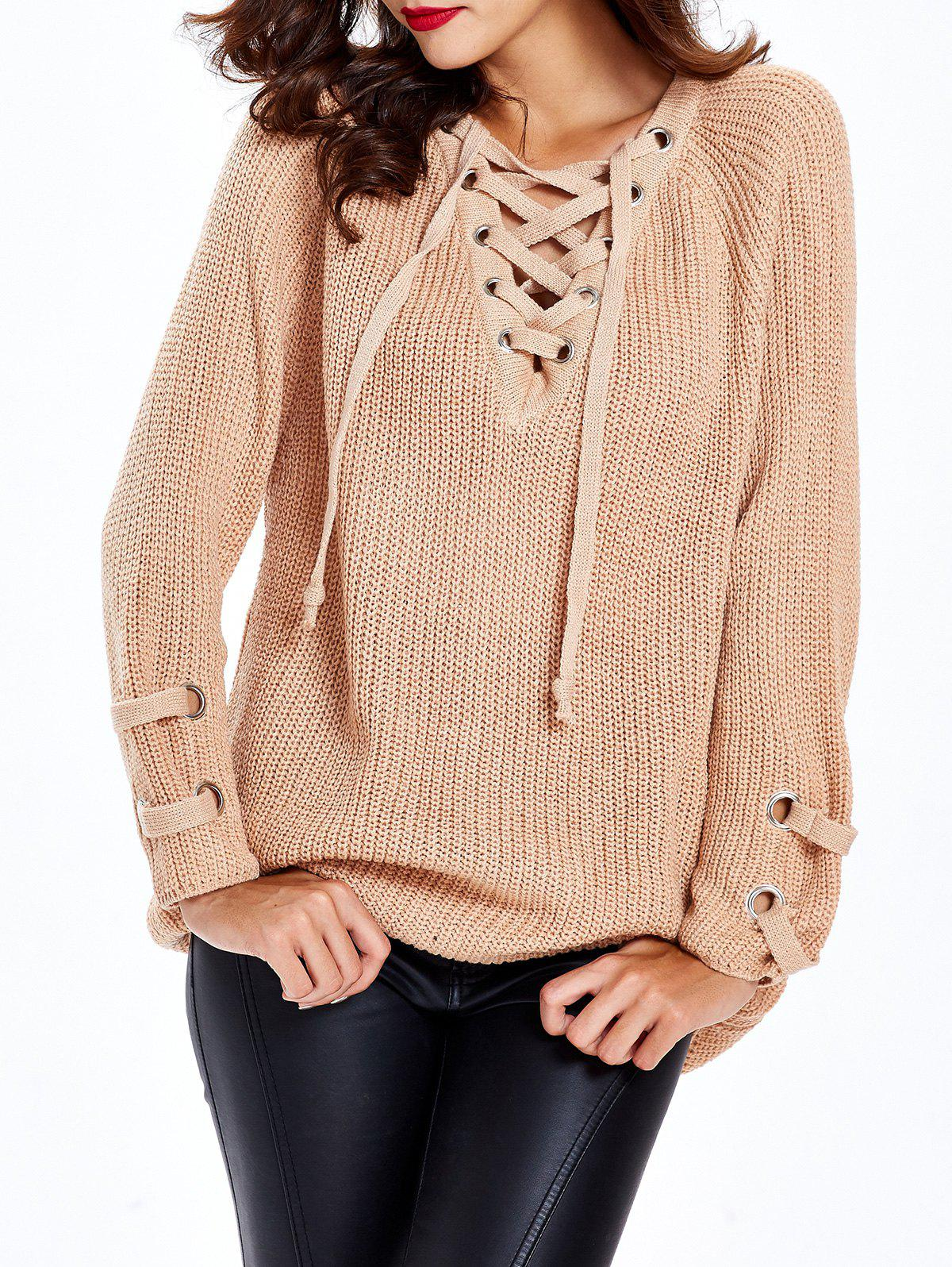 Lace Up Criss-Cross Long Sweater - APRICOT ONE SIZE