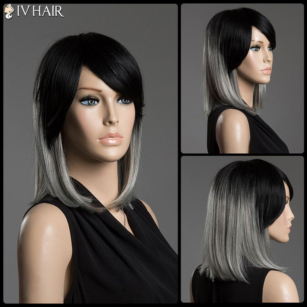 Two-Tone Ombre Lisse Moyen Cheveux Side Bang Siv cheveux capless perruque - multicolore