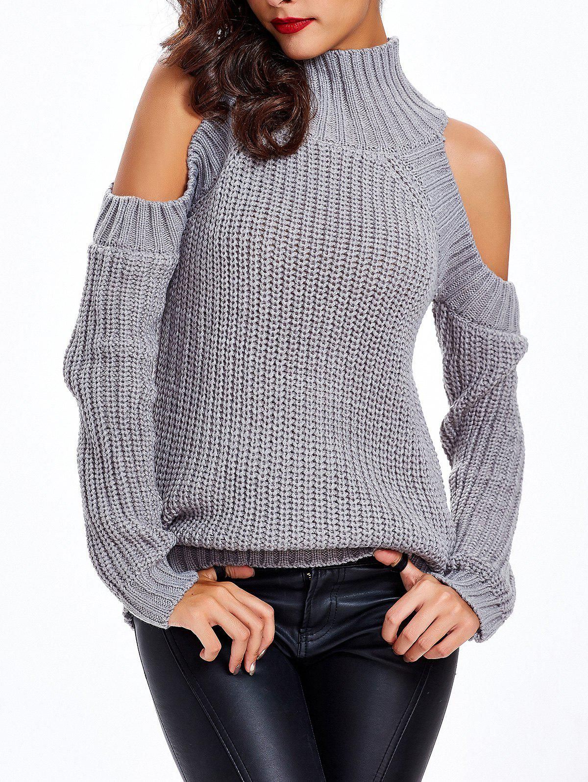 Texture froide épaule Pull - gris ONE SIZE