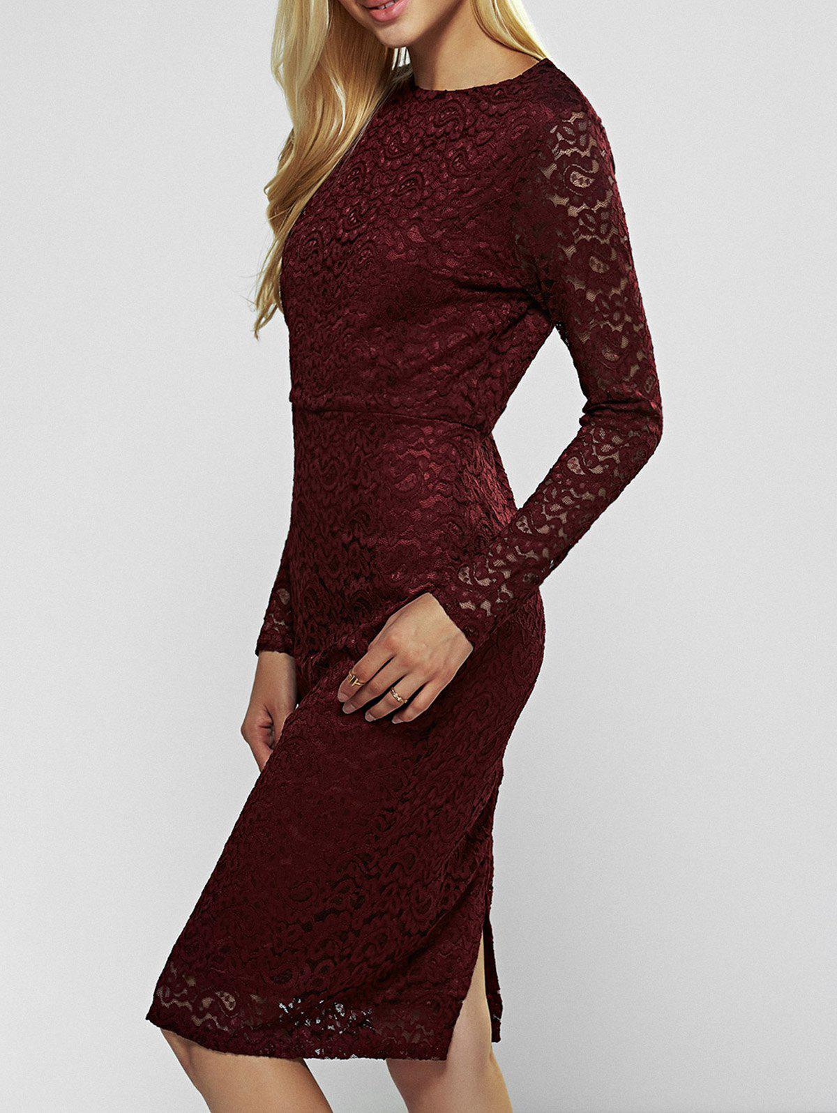 Lace Long Sleeve Sheath Evening Cocktail Dress long sleeve lace pencil sheath dress